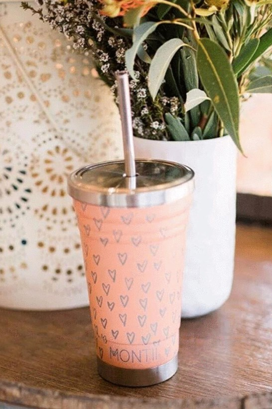 Montiico Smoothie Cup Peachy Hearts Print 450mL