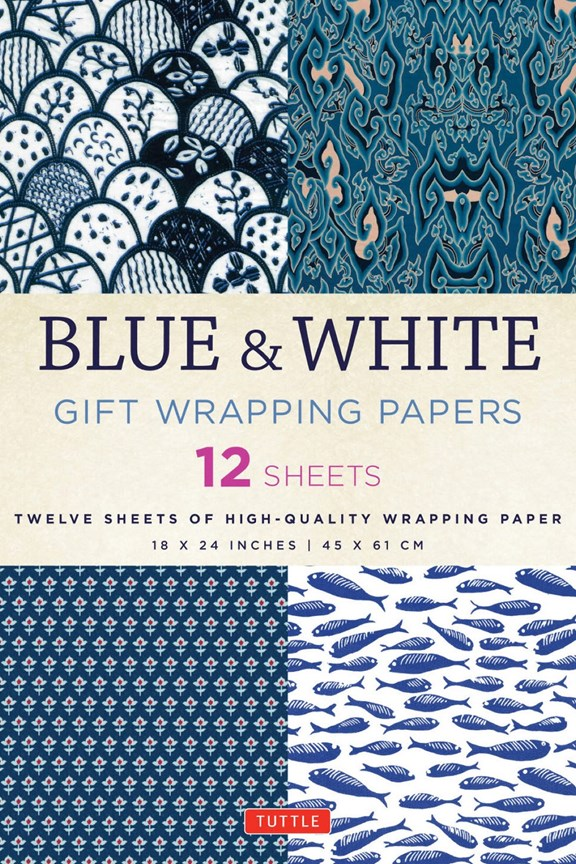 Tuttle Blue & White Gift Wrapping Paper (Set of 12)