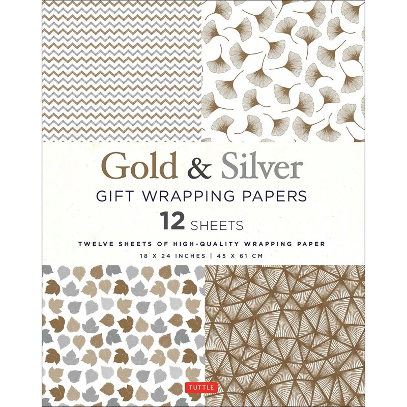 Tuttle Gold & Silver Gift Wrapping Paper (Set of 12)