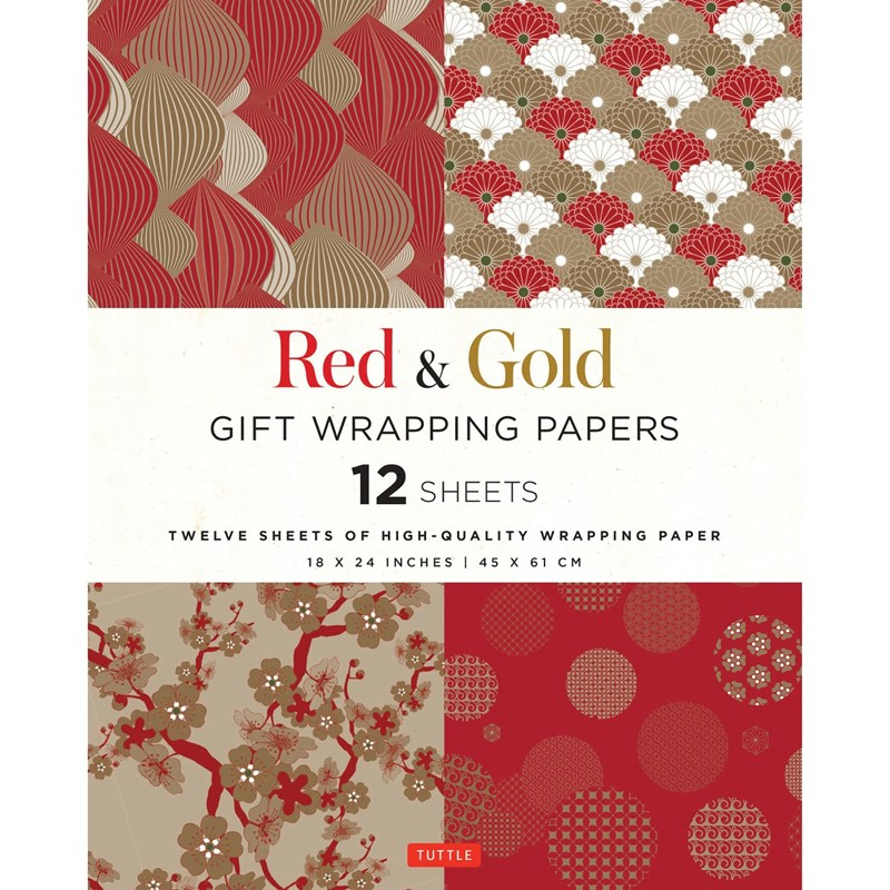 Tuttle Red & Gold Gift Wapping Paper (Set of 12)