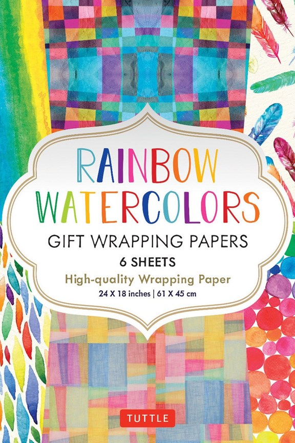 Tuttle Rainbow Watercolors Gift Wrapping Paper (Set of 6)