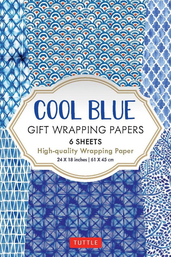 Tuttle Cool Blue Gift Wrapping Paper (Set of 6)