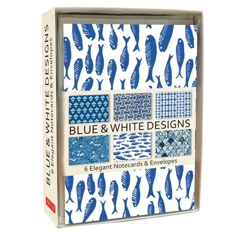 Tuttle Blue & White Note Cards (6 Cards)
