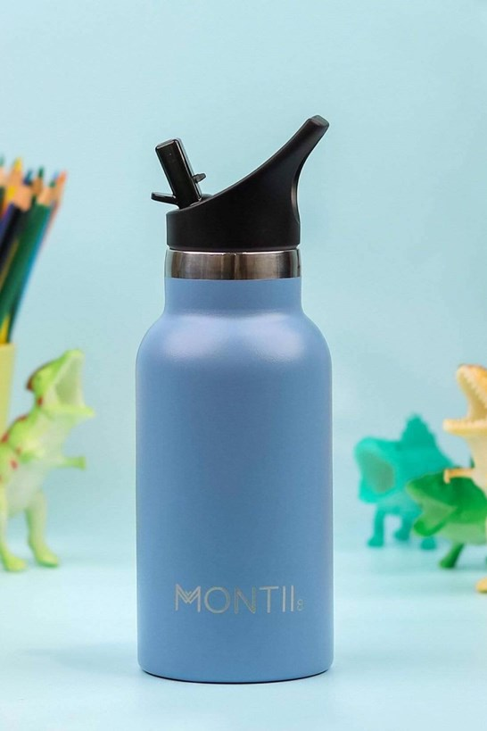 Montiico Mini Drink Bottle Slate with Sipper Lid 350ml