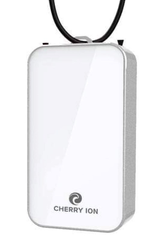 Cherry Ion Personal Wearable Air Purifier (White-Silver)